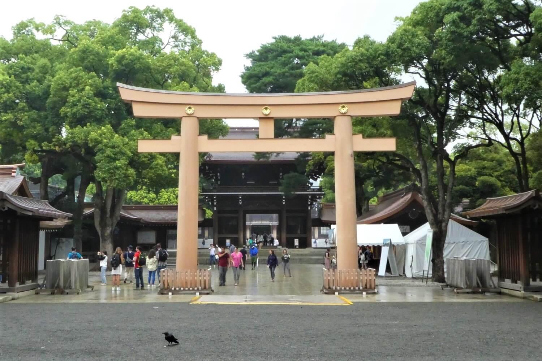 Een torii van de Meiji Jingu Shrine, Tokio