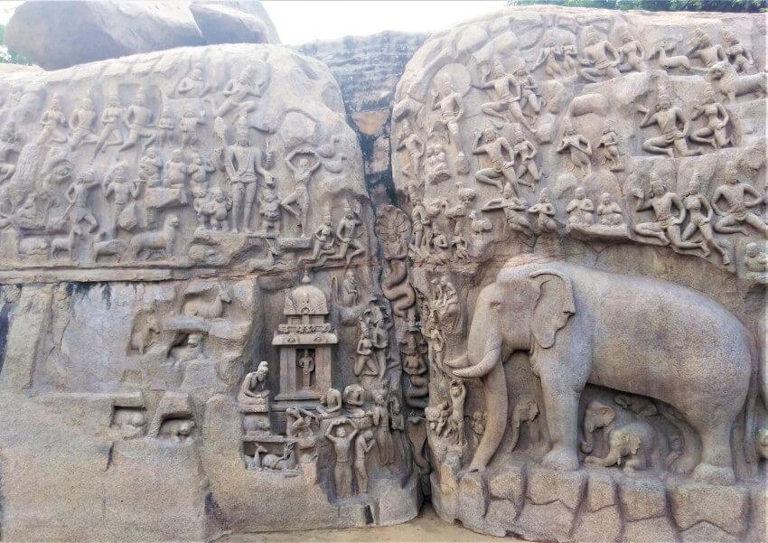 De boetedoening van Arjuna in Mahabalipuram