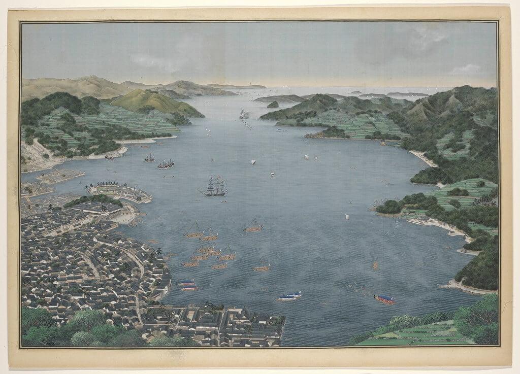 Een schilderij van de haven van Nagasaki, Japan