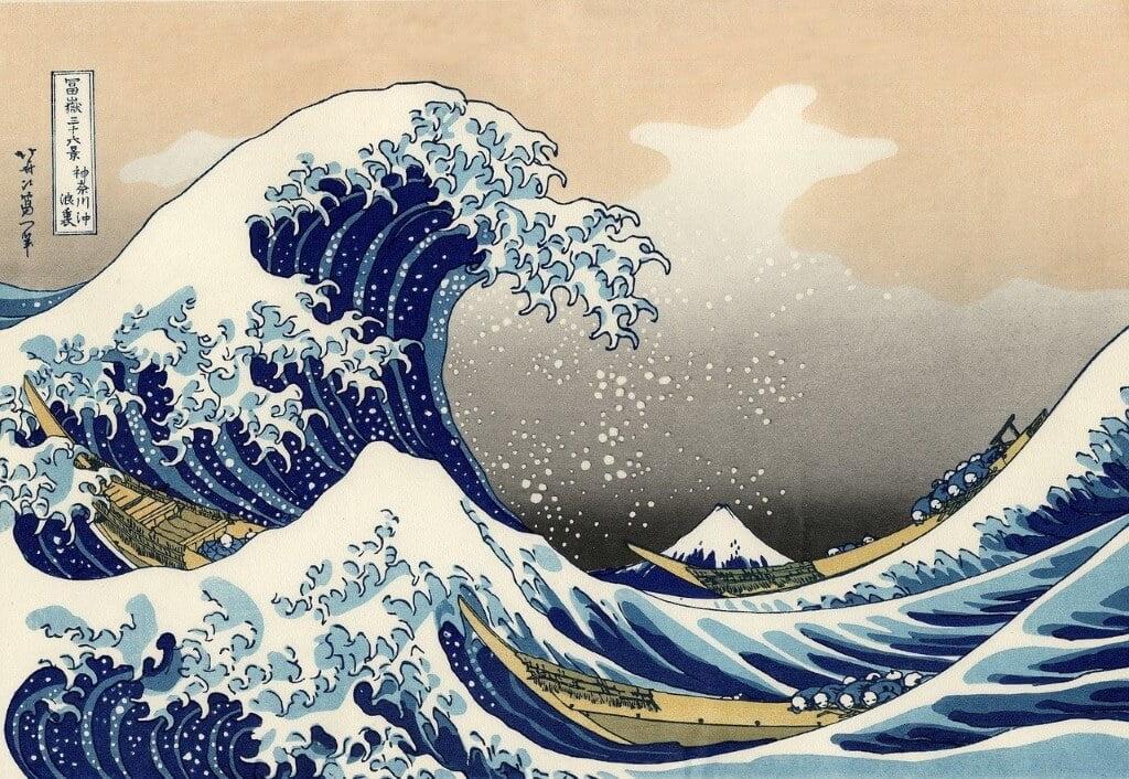 Een houtsnede van Hokusai, Japan