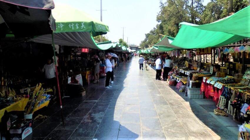 De markt van Qufu in China