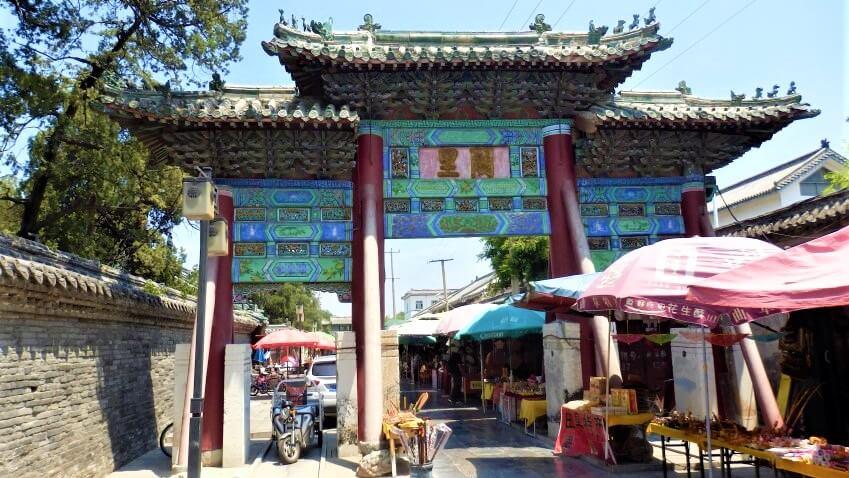De markt van Qufu, China