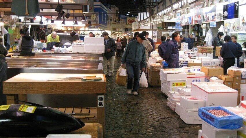 Tsukiji Vismarkt in Japan