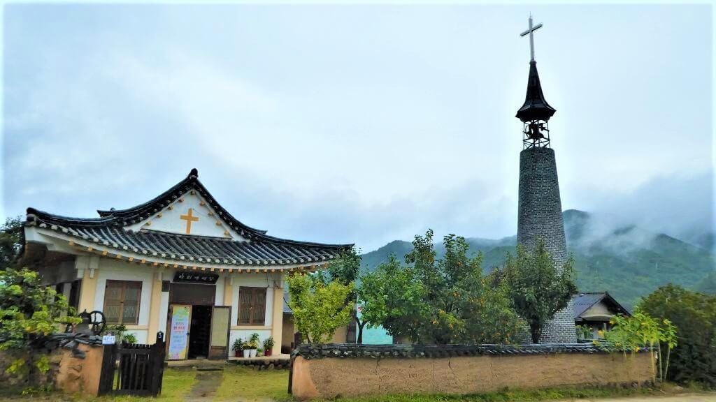 Een kerk in Hahoe Folk Village, Zuid-Korea
