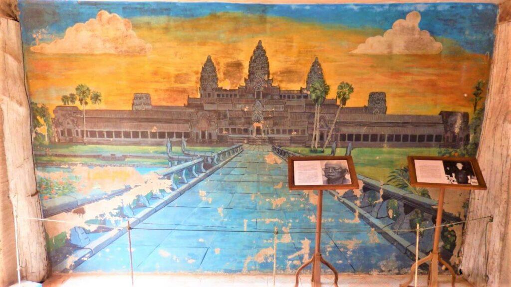Een tekening uit het huis van Ta Mok, Cambodja