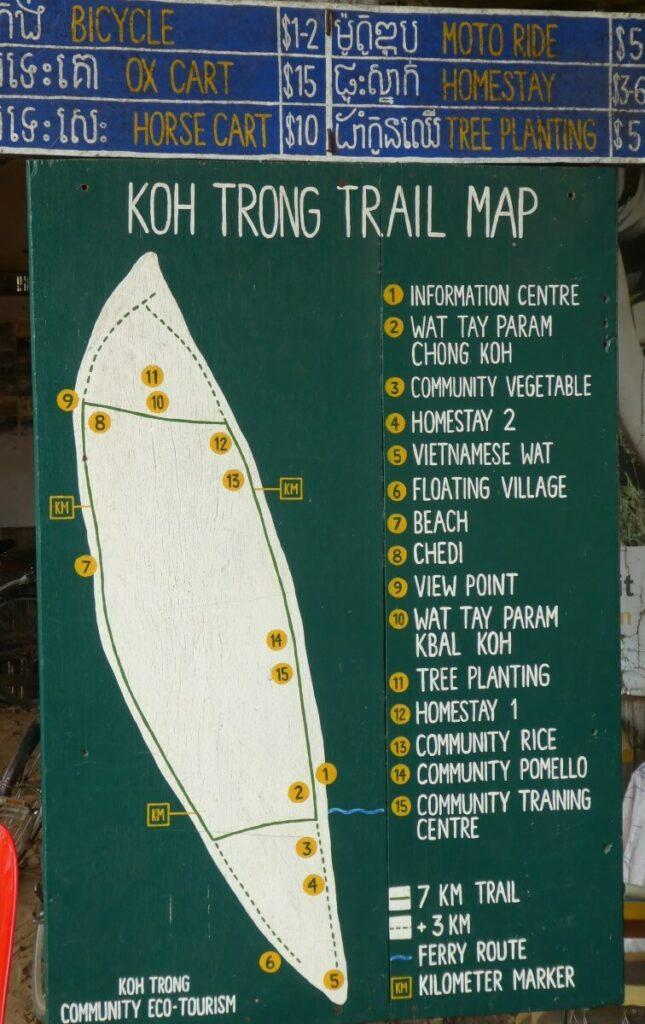 Een map van eiland Koh Trong, Kratie