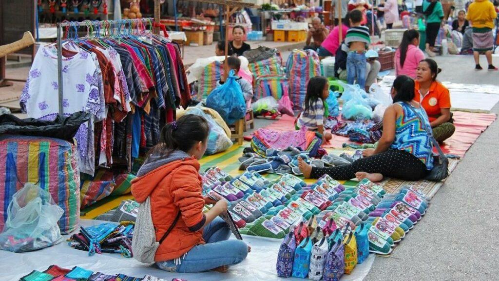 De markt van Luang Prabang, Laos