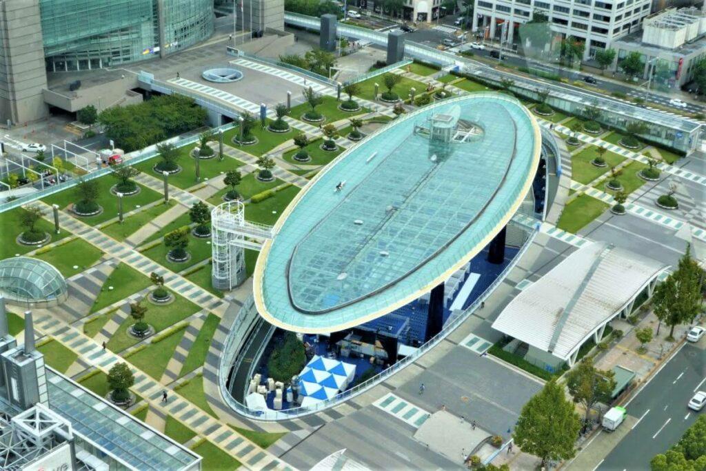 Het busstation van Nagoya vanaf Nagoya Tower