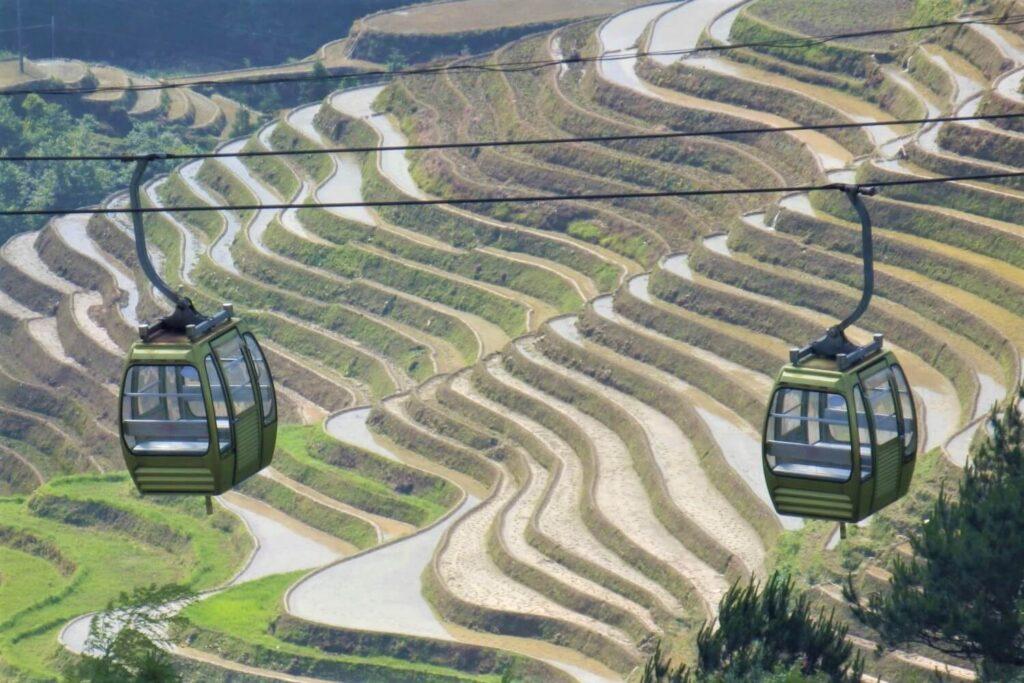 De Longsheng Rijstvelden en de kabelbaan bij Dazhai, China