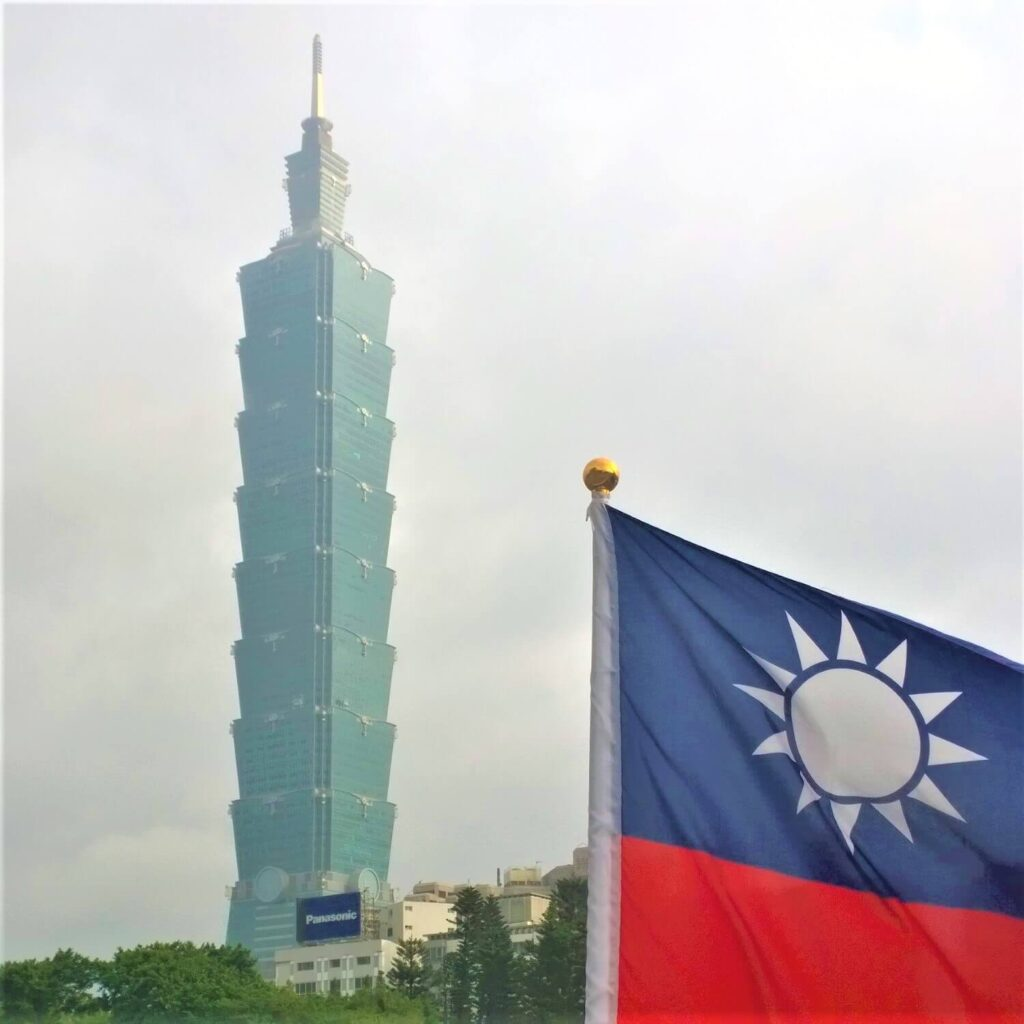 De vlag van Taiwan en de Taipei 101