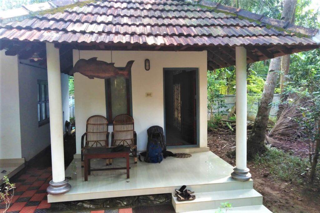 Mijn accommodatie op Munroe Island in Kerala, India